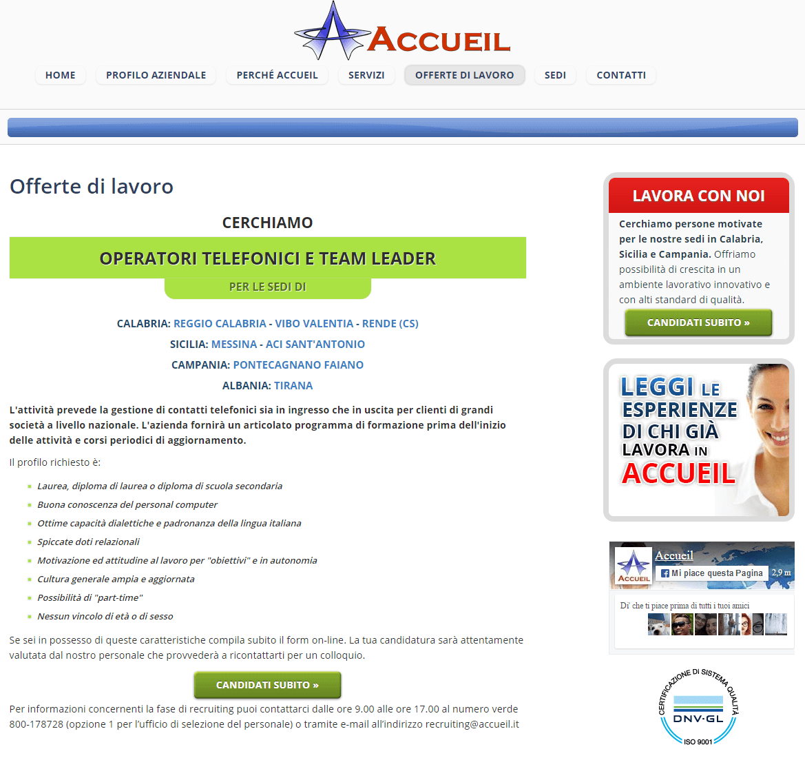 Accueil - Pagina offerta di lavoro