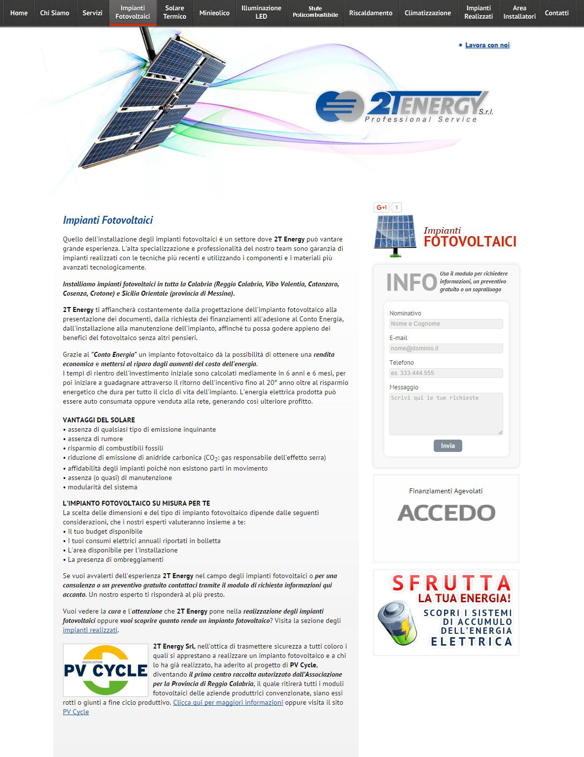 2T Energy Pagina Impianti Fotovoltaici