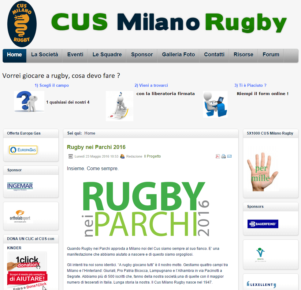 Cus Milano Rugby Home Page