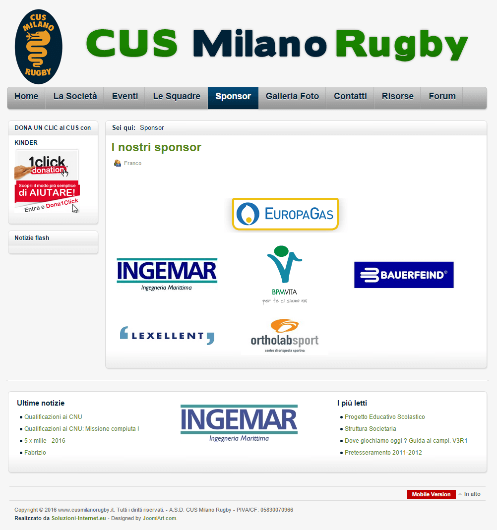 Cus Milano Rugby Pagina Sponsor
