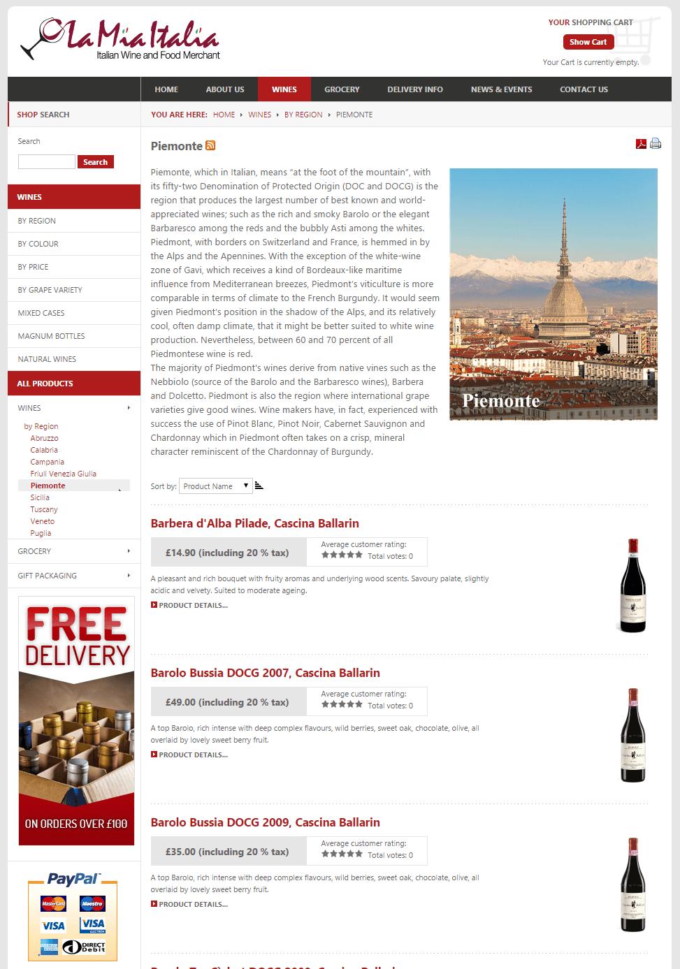 La Mia Italia Shop Pagina regione vini