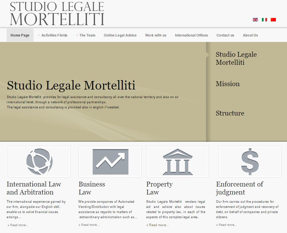 Studio Legale Mortelliti Home Page in inglese