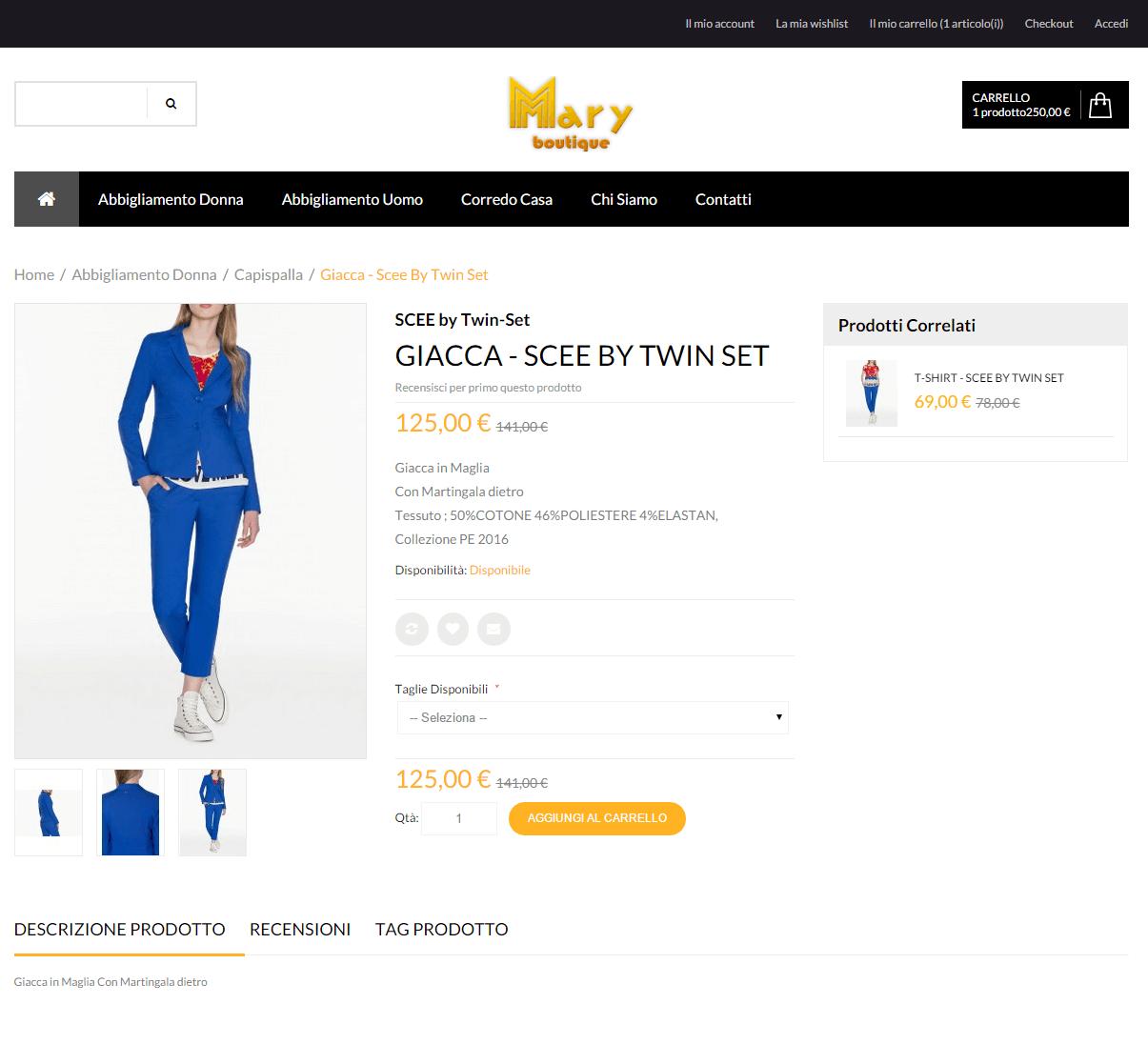 Mary Boutique - Pagina dettaglio prodotto