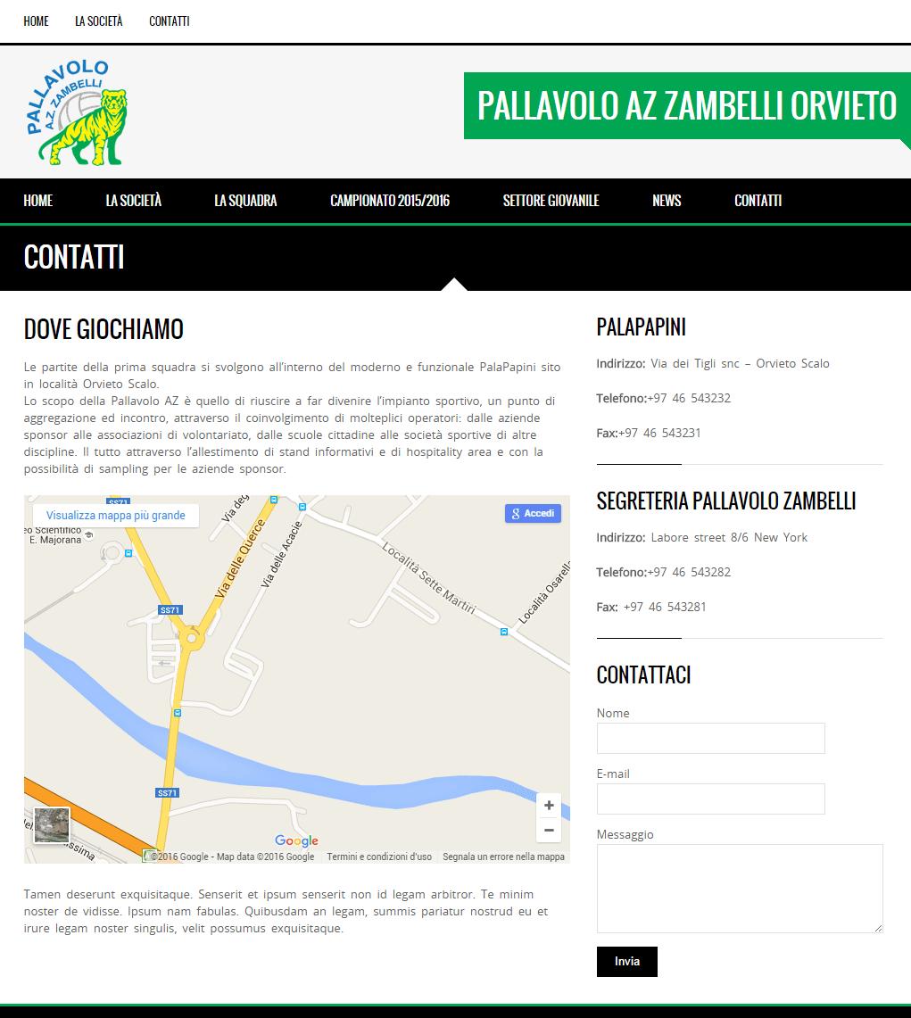 Pallavolo Zambelli - Pagina Contatti
