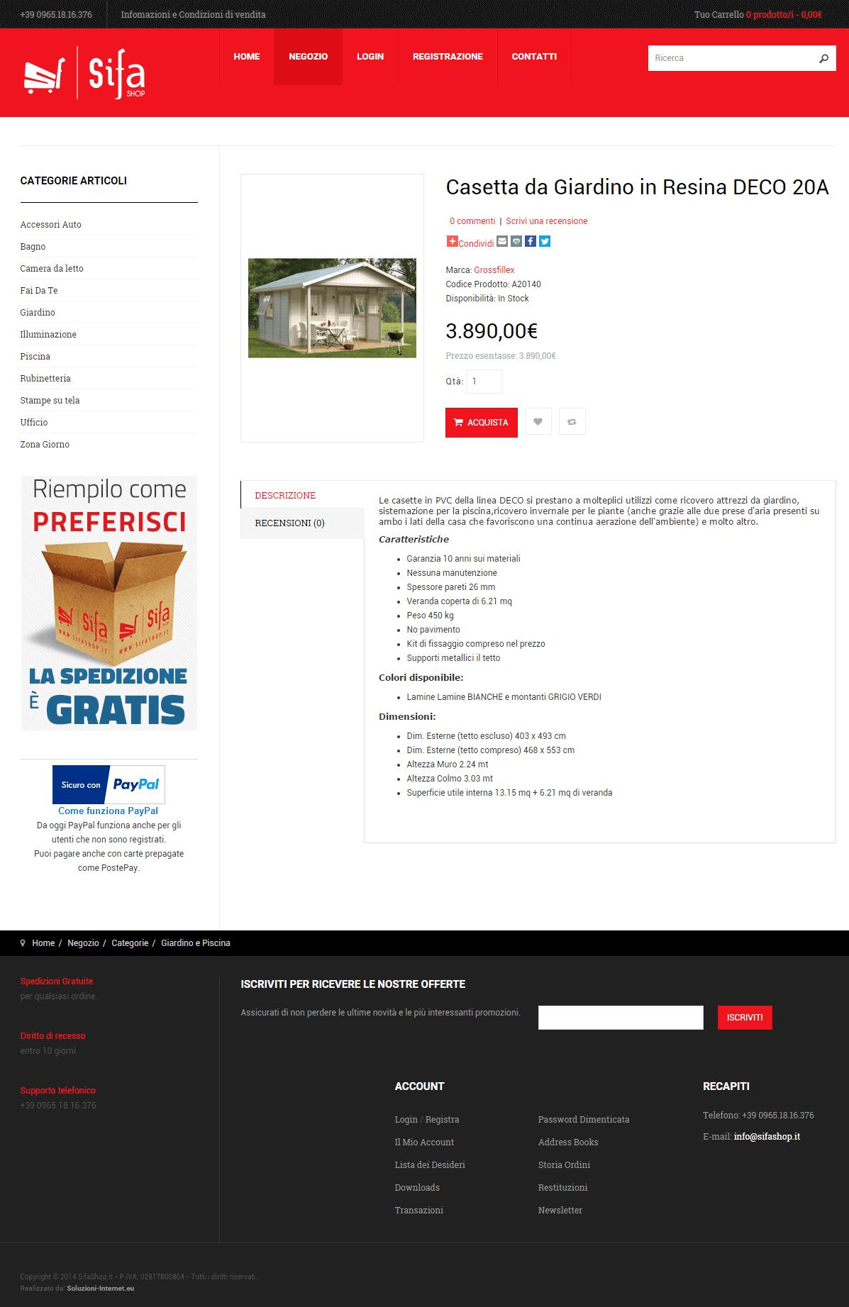 SiFa Shop - Pagina dettaglio prodotto