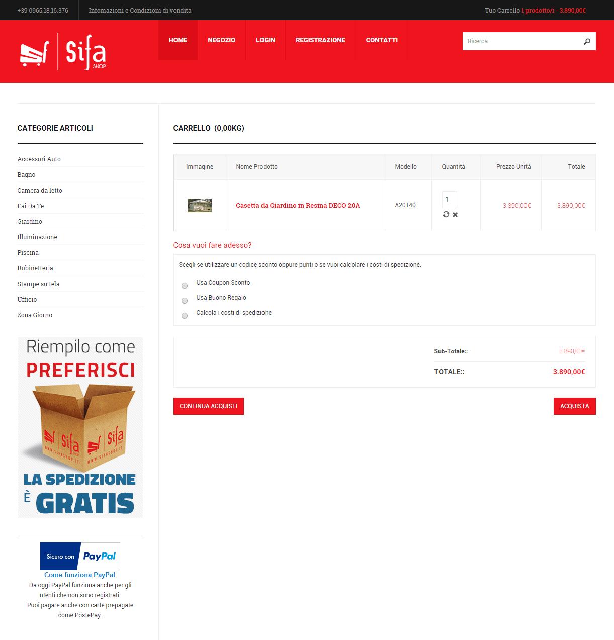 SiFa Shop - Pagina Carrello