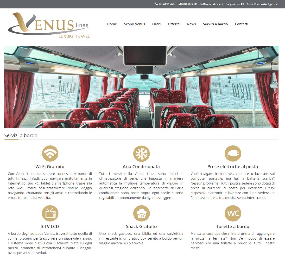 Venus Linee - Pagina Servizi a bordo